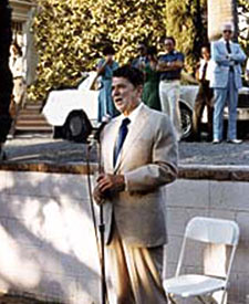President Ronald Reagan speaking at the Grand Island Mansion